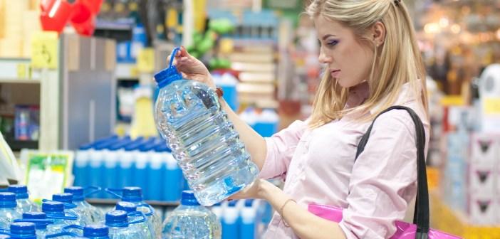 bottled water in store