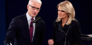 Moderators Cooper and Raddatz before the start of the second U.S. presidential debate in St. Louis