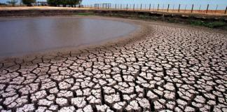 A stock pond south of Dallas, TX, dries up due to