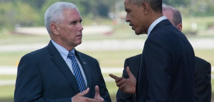 Mike Pence and Barack Obama
