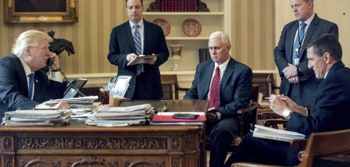 Michael Flynn and Donald Trump staff