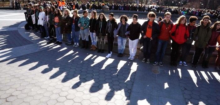 Image: Students from Harvest Collegiate High School take part in a national walkout to protest gun violence