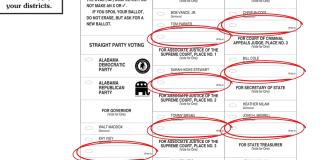 Alabama write in votes