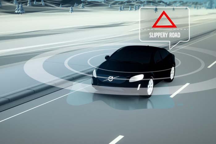 Når et køretøj registrerer glatføre, spreder den via mobilnettet en advarsel til alle køretøjer i nabolaget, så disse kan træffe de fornødne sikkerhedsforanstaltninger, som passende kan begynde med at sænke farten, før bilen rammer det glatte føre.