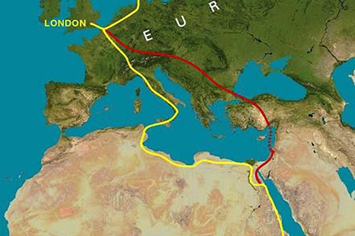 Den oprindelige ruteplan og den alternative røde rute, som Porsche-trioen vil følge i november.