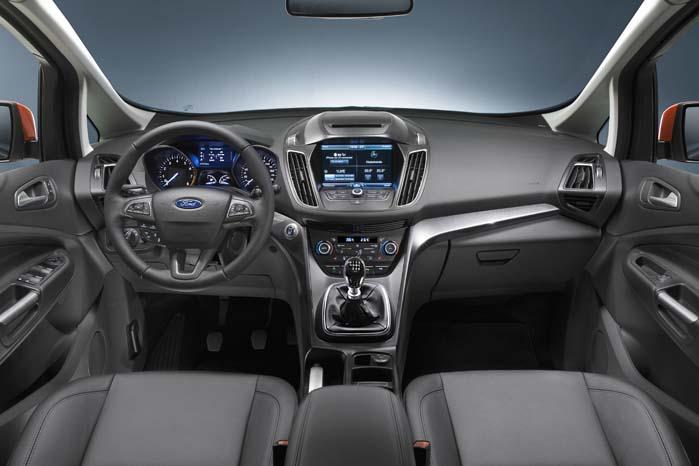 Kabineindretningen i den faceliftede Ford C-Max, de rligesom S-Max får dansk premiere medio 2015.