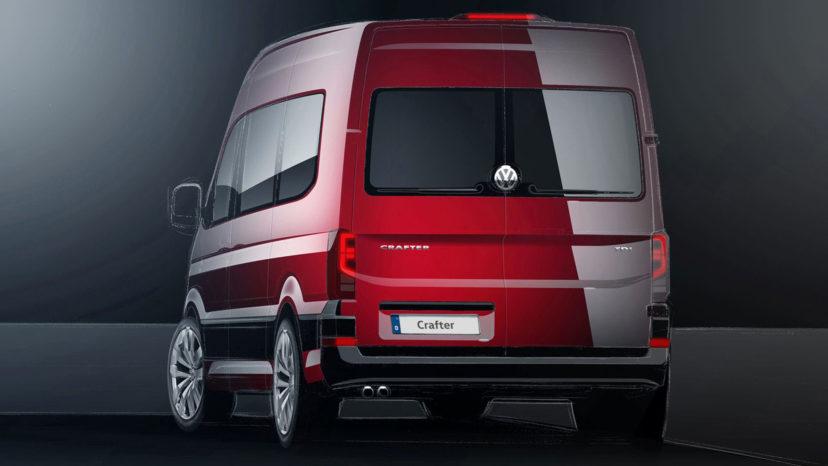 Den kommende Volkswagen Crafter kunne ende med at se sådan her ud. Det er svært at se forskel på den og Transporter.