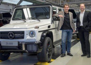 G-Klasse nr. 20.000 på et år var en hvid G63 AMG med 5,5-liters V8'er.