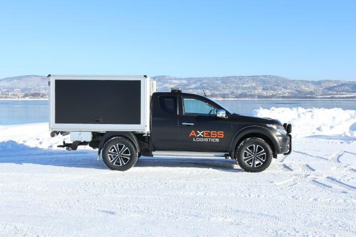 Mitsubishi L200 som varebil ombygget af Axess Logistics. Fotos: Axess Logistics