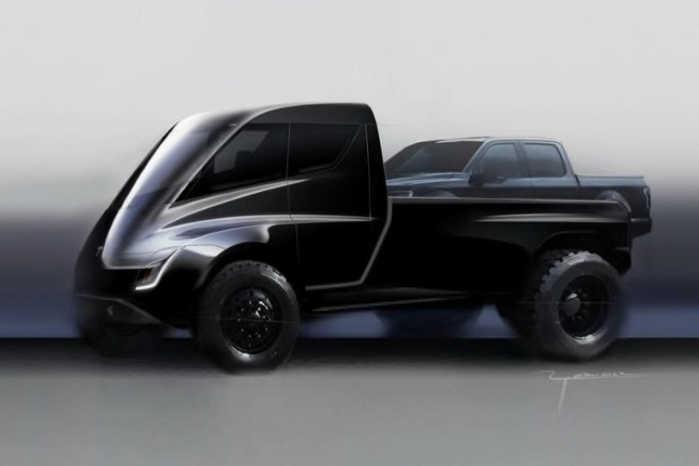 Tesla Semi Tractor som pickup med en pickup på ladet blev afsløret i 2017