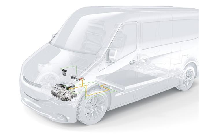 eCityTruck fra Bosch er et modul bestående af elmotor, omformer og kraftfordeling. Illustration: Bosch