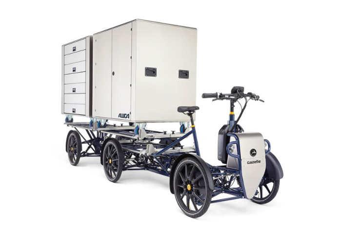 Elcyklen Gazelle D20 kan laste to bokse på hver én kubikmeter og ialt 200 kg
