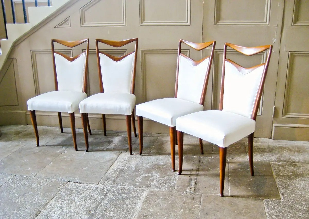 italian designer dining chairs ivory carlo di carli vintage design