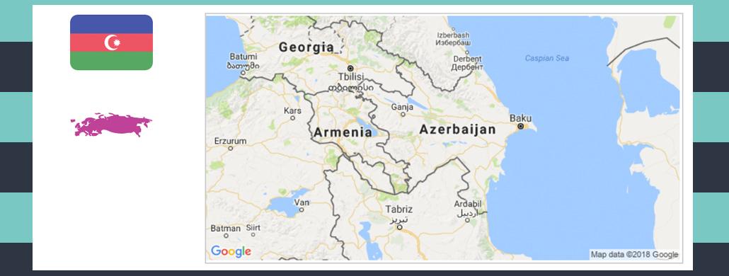 Map and flag of Azerbaijan.