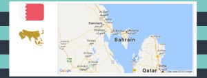 Map and flag of Bahrain.