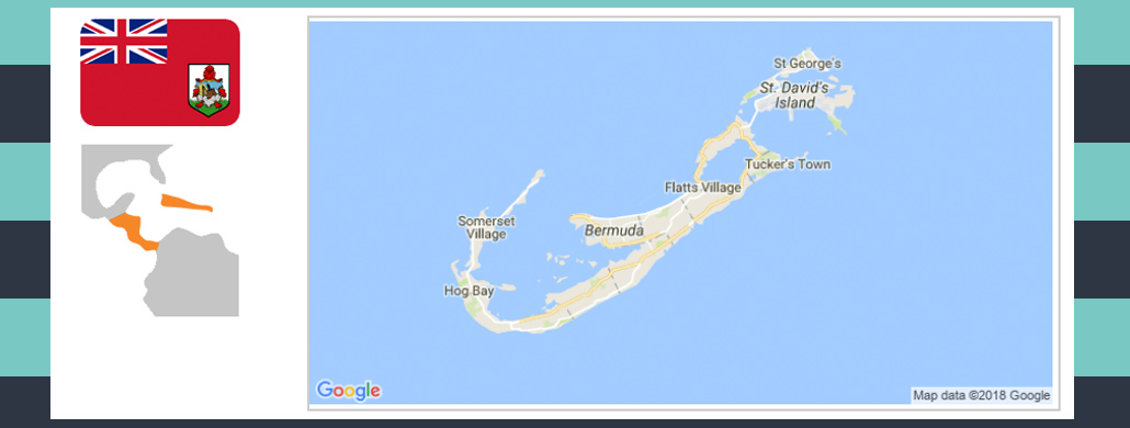 Map and flag of Bermuda.