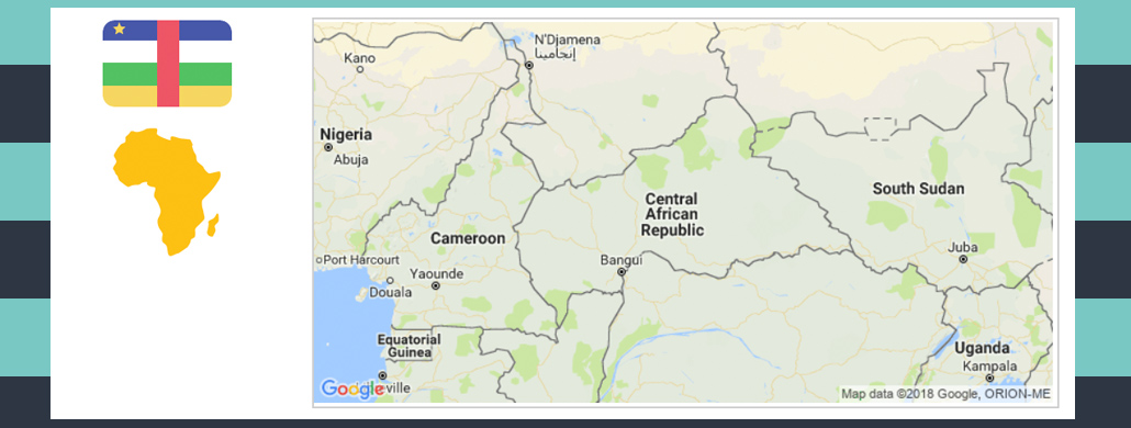Map and flag of Central African Republic.