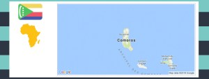 Map and flag of Comoros.