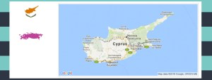 Map and flag of Cyprus.