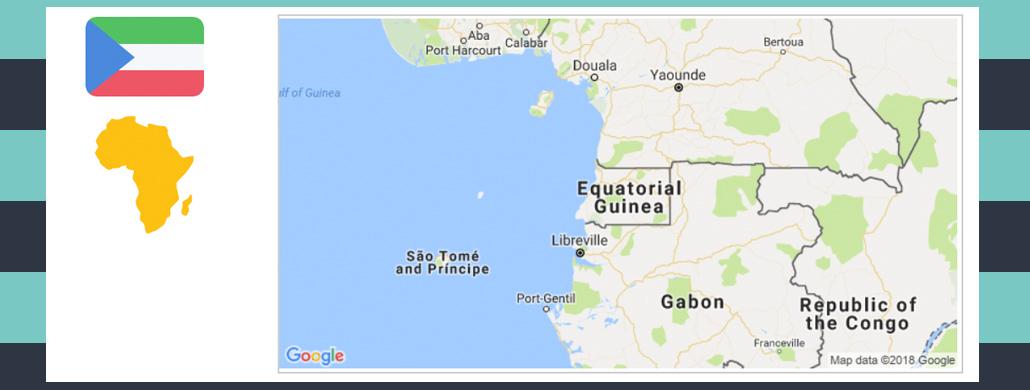 Map and flag of Equatorial Guinea.