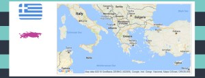 Map and flag of Greece.