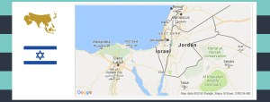 Map and flag of Israel.