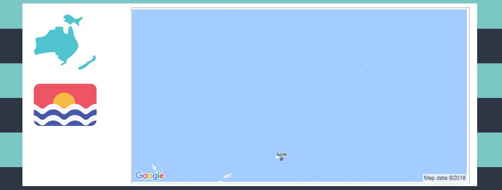 map and flag of kiribati