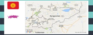 Map and flag of Kyrgyzstan.