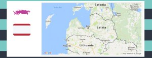 Map and flag of Latvia.