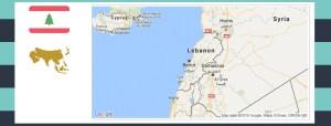 Map and flag of Lebanon.