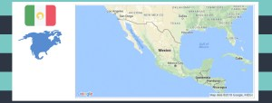 Map and flag of Mexico.