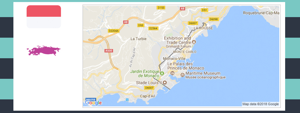 Map and flag of Monaco.