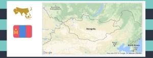 Map and flag of Mongolia.