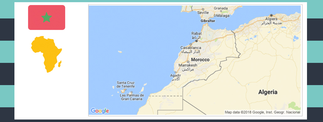 Map and flag of Morocco.