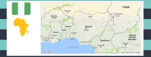 Map and flag of Nigeria.