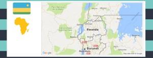 Map and flag of Rwanda