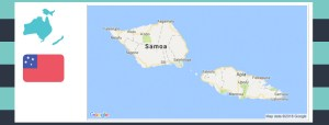 map and flag of samoa