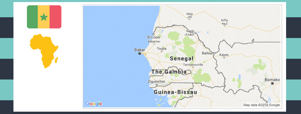 Map and flag of Senegal.
