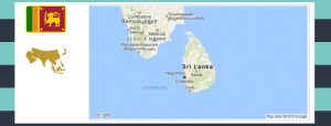 Map and flag of Sri Lanka.