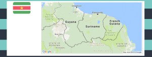 Map and flag of Suriname.
