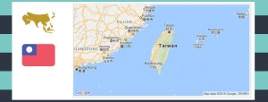 Map and flag of Taiwan.