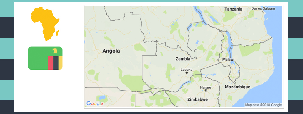 Map and flag of Zambia.