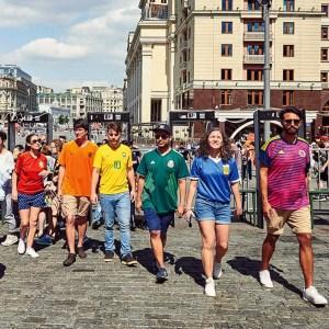 World Cup fans create rainbow flag with football jerseys