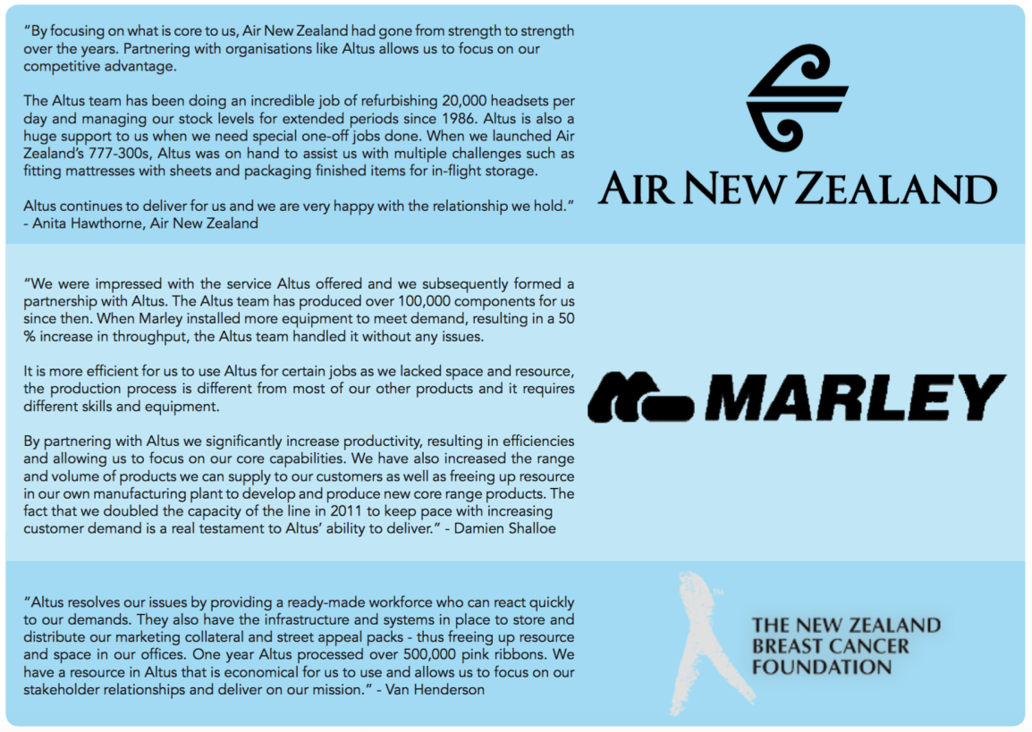 Testimonials of Altus, Air New Zealand, Marley, New Zealand Breast Cancer Foundation