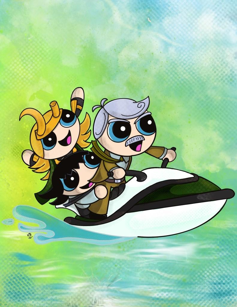 Sylvie, Loki and Mobius on a Jetski