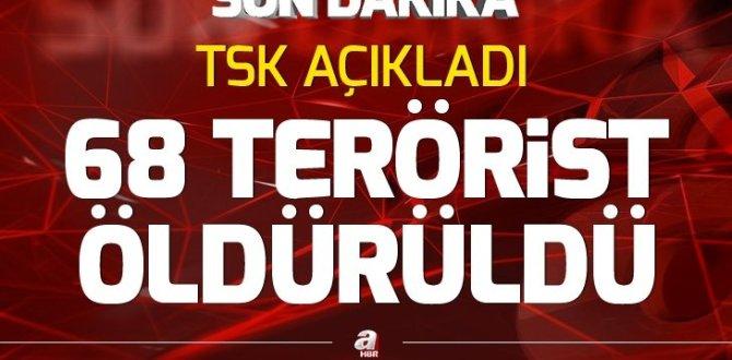 TSK: Bir haftada 68 terörist etkisiz hale getirildi
