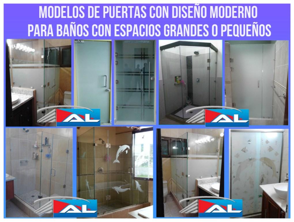 Modelos de puertas con diseño moderno para baños con espacios grandes o pequeños