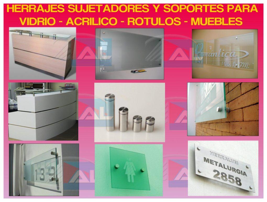Feria de los Herrajes, Sujetadores y Soportes de Acero Inoxidable para Vidrio y Acrílico Rótulos de Publicidad y Muebles.