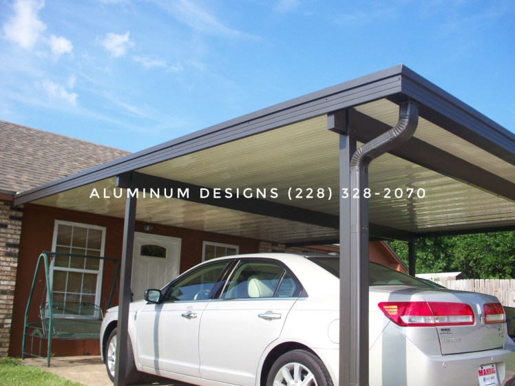 double aluminum carport. bronze post and trim, Ivory pan roof system
