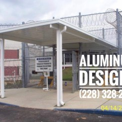 walkway cover at the jail Built by Aluminum Designs of Saucier, MS.
